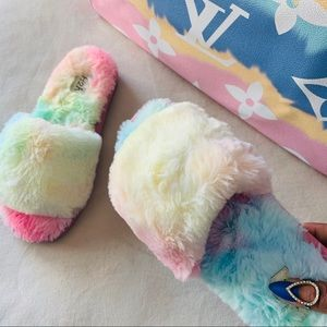 •All About the Fluff• Tie Dye Slide Slippers